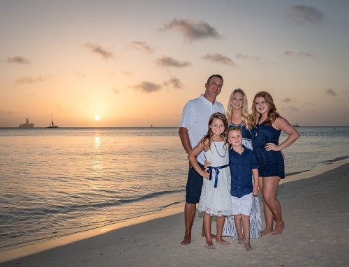 Family Portraits at Sunset in Aruba